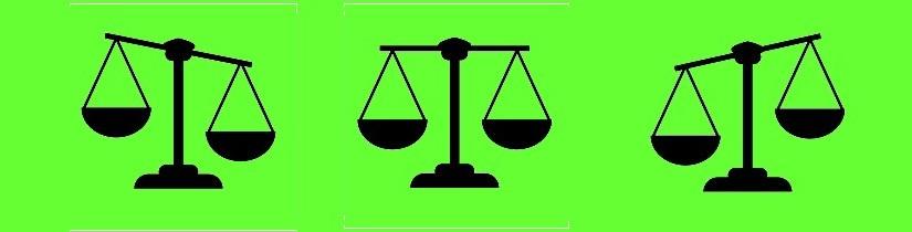 A set scales balance icon. Vector illustration. Flat design.